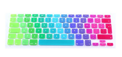 Ganrui Rainbow Colourful Silicone Keyboard Skin Cover for Macbook Pro 13' 15' 17' inch (UK Layout)