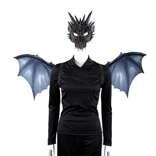 Toyvian Disfraz de Dragón Alas Máscara Conjunto Negro No Tejido Carnaval Disfraz Cosplay Fiesta Disfraz Accesorio para Adultos Niños