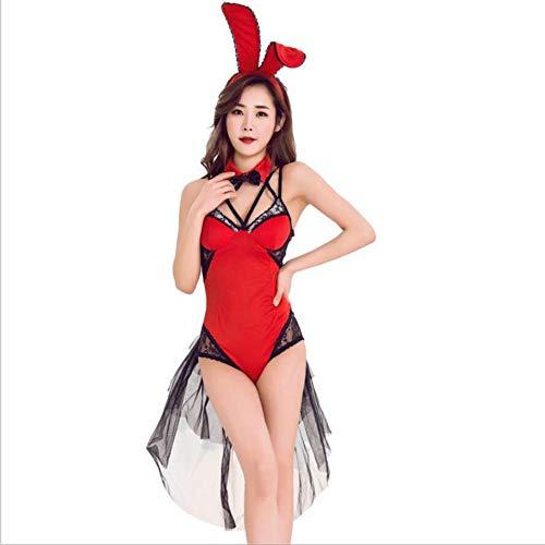 PAOFU-Costume Cosplay di Halloween da Donna,Costume da Coniglietta Sexy per Donne Adulte,Uniforme da Gioco per Feste Festive,Rosso,L