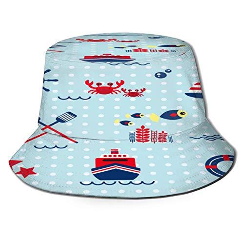 MAYUES Unisex Bucket Sun Hats Seamless Pattern Sailing Anchor Steering Wheel Fashion Summer Outdoor Travel Beach Fisherman Cap
