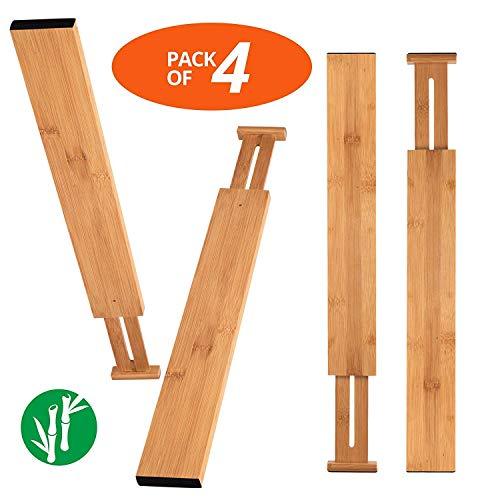 JDD Bambus Küche Schublade Teiler Schubladen-Organisatoren Erweiterbare Schubladen-Teiler Holz Schreibtisch Schublade Organisatoren, Fach Organizer für Küche, Baby Schublade, Badezimmer