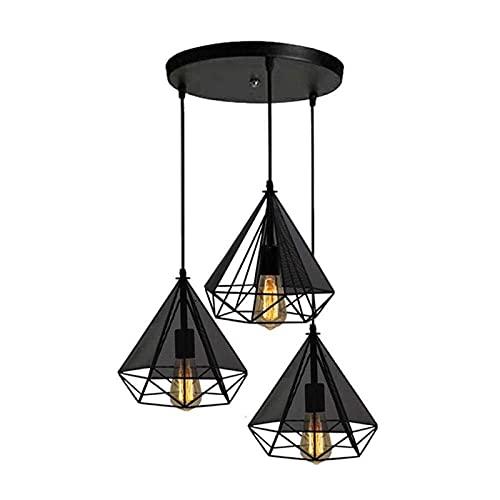 Plafondlamp, retro 3 hoofden vintage opknoping lichten restaurant lichten zwart ijzer eettafel lamp moderne romantische decoratie licht in hoogte verstelbare E27 industriële bar licht a