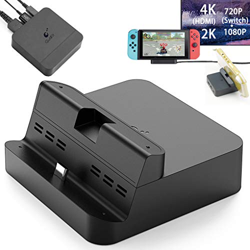 GuliKit Pocket TV Dock for Nintendo Switch, PD Protocol Avoids Brick, Hyper Trans for 1080P/2K/4K Projection, Magnet Transform Design, Supported Phone or Tablet, Charging Dock with Air Outlet (Black)