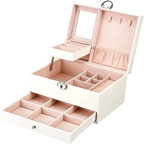 Caja de joyería para mujer con bordado, caja de joyería de 2 cajones, caja de joyería con cerradura con espejo, caja de almacenamiento portátil