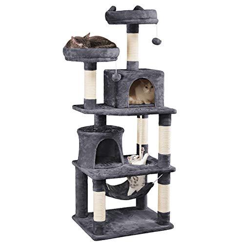 Yaheetech Katzenbaum Stabiler Kletterbaum mit 2 Häuschen und Hängematte Plüsch Kratzbaum