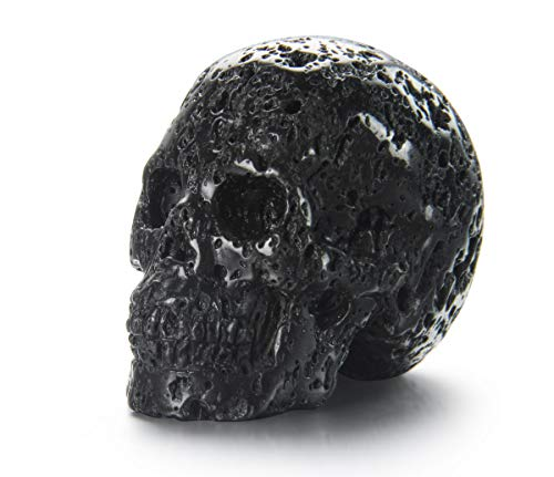 Skullis 2.0' Hot Lava Stone Crystal Skull, Hand Carved Gemstone Fine Art Sculpture, Reiki Healing Stone Statue.