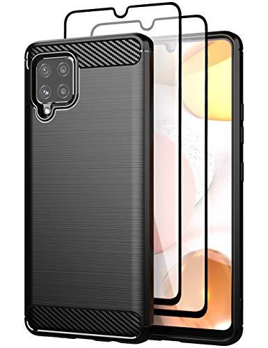 Teayoha hülle für Samsung Galaxy A42 5G hülle, mit Bildschirmschutzfolie aus gehärtetem Glas, Karbonfaser, kratzfest, stoßdämpfend, weiche TPU-Schutzhülle – Schwarz