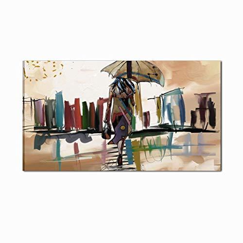 I Colori del Caribe Quadri Skyline Citta' Dipinti A Mano su Tela INTELAIATI Pronti per Essere APPESI Arredamento CASA Salone Ufficio Soggiorno Cucina Alta QUALITA' Made in Italy - Urban City