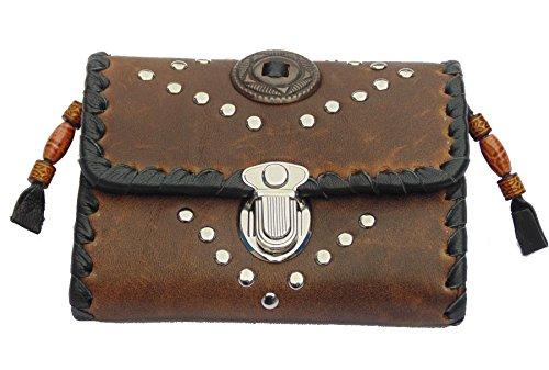 Monedero de Piel marrón con Remaches Conchos Indian Western Style 13 x 10 cm