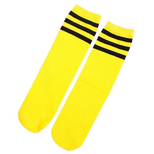 HugeDE Kleinkinder Streifen Socken Overknee Strümpfe Kniestrumpfe Sportsocken Socken Jungen Mädchen Gelb Schwarz