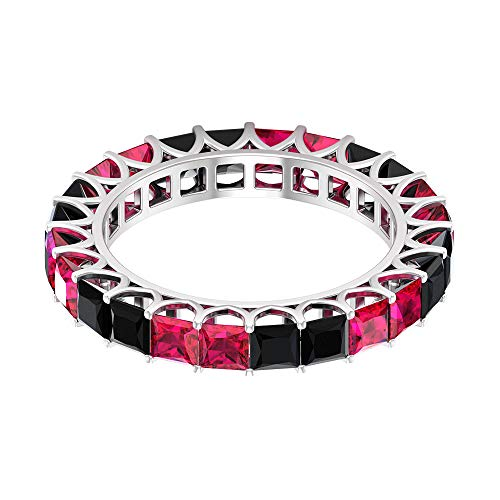 Banda de eternidad completa, 2,4 Ct3 mm rubí alterna, anillo de boda de 1,3 quilates de corte princesa, anillo de dama de honor apilable, anillo de piedra natal de julio, 10K Oro blanco, Size:EU 70