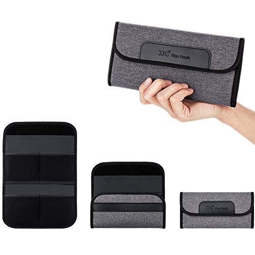 JJC Funda de filtro de 4 bolsillos para filtro redondo de hasta 82 mm, bolsa de filtro de lente plegable con paño de limpieza de microfibra, bolsa de filtro de fotografía profesional