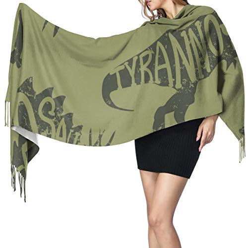 Womens Warm Long Shawl Wraps Large Scarves,Seamless Camouflage Dino Pattern Knit Cashmere Feel Scarf for Christmas