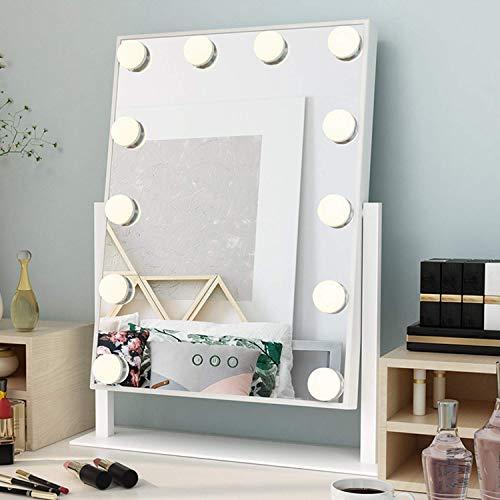 Ovonni Hollywood Espejo de Maquillaje con 12 Luces Giratorio de 360 °, Espejo de luz LED Iluminado, Espejo de Maquillaje, 3 Modos de Color, Blanco