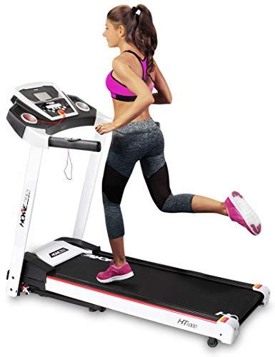 Miweba Sports elektrisches Laufband HT1000 - Incline 6% - Klappbar - 3,5 Ps - 16 Km/h - 12+4 Laufprogramme - Tablet Halterung - Große Lauffläche (White)