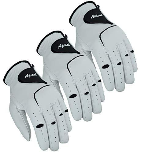 Apical Premium Golfhandschuhe aus Leder, stabiler Griff, langlebig, Vorteilspack (3 Stück) aus echtem Cabretta-Leder, Golfhandschuhe für Herren, linke Hand (normale Größen), groß, für Linkshänder