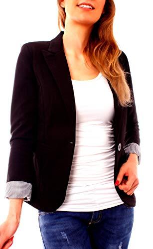 Easy Young Fashion Easy Young Fashion Damen Blazer Anzug Jacket Kurzblazer Jacke Jerseyblazer 3/4 Arm Sakko Gefüttert Schwarz XS 34 (S)