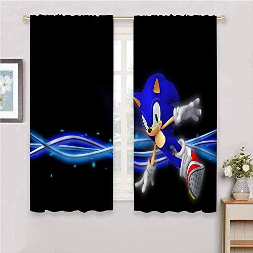 Cortinas de ventana con bolsillo para barra, Sonic the Erizo con bolsillo para barra, cortinas de ventana para dormitorio, baño, sala de estar, cocina, oficina, decoración de 72 x 72 pulgadas