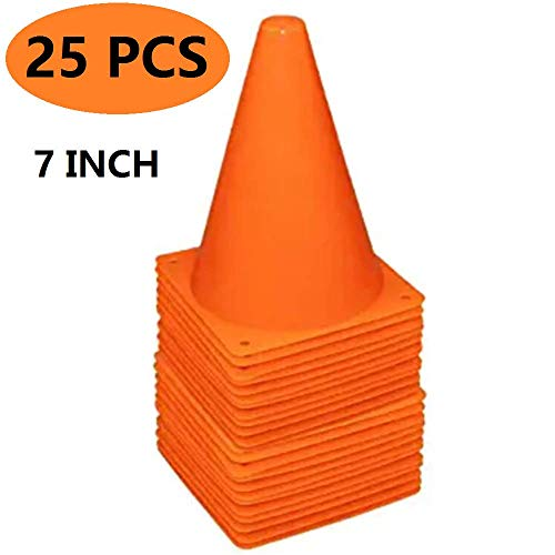 YOQXHY Soccer-Cones 7 Inch (Set of 25) Agility-Training Sports-Cone Plastic with Carry Bag for Kids Football Basketball Drills Field Markers, (Orange)