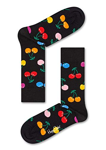 Happy Socks Damen Freizeitsocken Cherry Sock, Mehrfarbig (Schwarz 9002), One Size (Herstellergröße: 36-40)