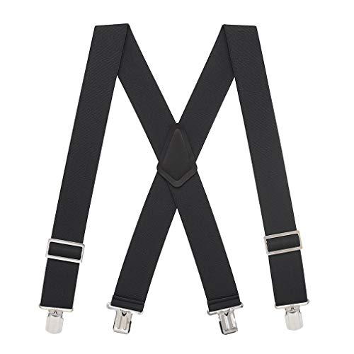 SuspenderStore Men's Logger Pin Clip Suspenders - 2 Inch Wide BLACK