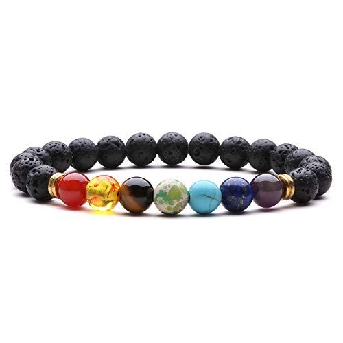 J.Fée Chakra Armband 8mm Perlenarmband Yoga Armband Armband aus Steinperlen Elastisches Perlenarmband Damen Herren Edelstein Perlen Armband Energie Armband Valentinstag Liebhaber