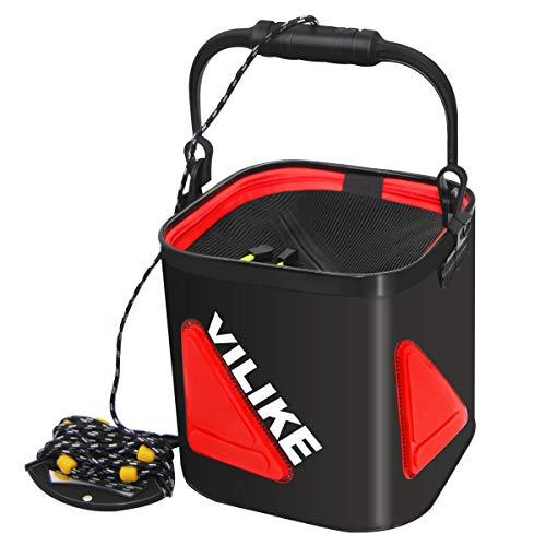 VILIKE バッカン 折りたたみ 釣り バケツ 活かし水汲みバッカン コンパクト メッシュカバー ホルダー付き 滑り止めビーズ付き 軽量 EVA素材 22cm