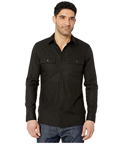 Calvin Klein Long Sleeve Solid Twill Pocket Shirt Black LG