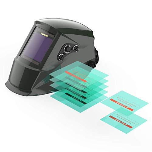 YESWELDER True Color Large Viewing Screen Solar Power Auto Darkening Welding Helmet&Replacement Lens