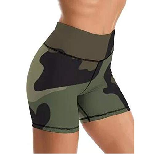 Keepwin Leggins Mujer Push Up Mallas de Deporte de Mujer Camuflaje Cintura Alta Pantalon de Entrenamiento para Running Gym Fitness Pantalones Cortos Yoga Mujer (B-Negro, Small)