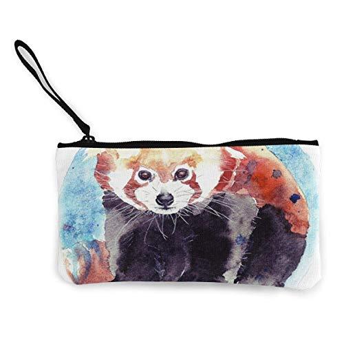 Yuanmeiju Canvas Geldbörse,Geldbörse for Women Watercolor Little Red Panda Coin Organizer Purse,Change Purse for Coins