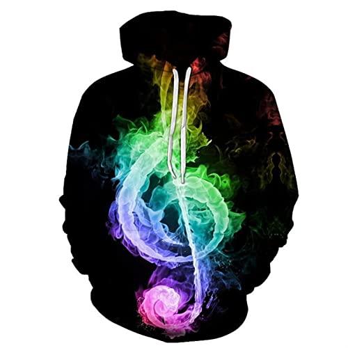 MITEHUAH Notas de Guitarra de Fuego Impresión en Color 3D Diadema de Diadema con Capucha Casual de Moda suéter con Capucha Otoño de los Hombres y el Calor del Invierno (Color : A, Size : M)