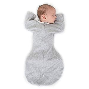 SwaddleDesigns Transitional Swaddle Sack with Arms Up Half-Length Sleeves and Mitten Cuffs, Heathered Gray, Medium, 3-6mo, 14-21 lbs (Parents' Picks Award Winner, Easy Transition with Better Sleep)