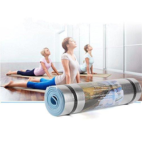 Colchoneta Antideslizante Espesa para Yoga, Colchoneta de Fitness para Gimnasio, Pilates o en Casa con Tirante- Película de Aluminio a Prueba de Humedad -180 * 50 * 0.6cm