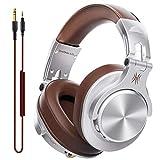 OneOdio DJ用 有線 ヘッドホン マイク付き モニターヘッドホン 密閉型 楽器練習 宅録 DTM A71 シルバー