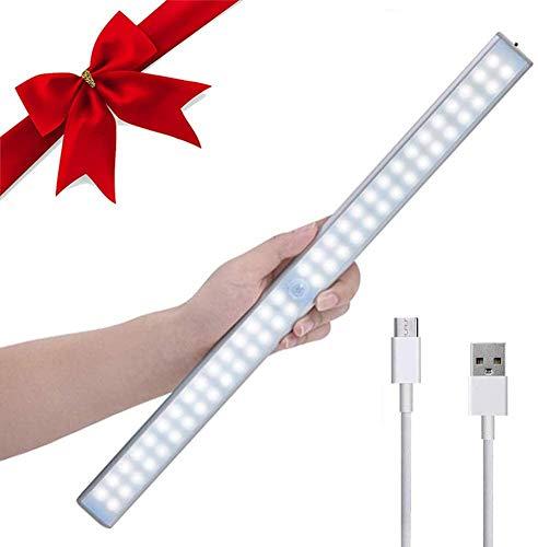 Luces de Armario,Lacyie 60LED 2000mAh USB Recargable Automático Luz Sensor de Movimiento con Interruptor Tira Magnética Barra,Lámpara Inalámbrica Nocturnas para Armario, Cocina,Gabinete y Baño