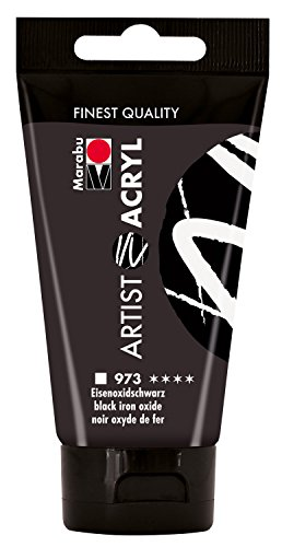 Marabu 12200002973 - Artist Acryl eisenoxid schwarz 75 ml, feine Acrylfarbe in Künstlerqualität, auf Wasserbasis, pastose Konsistenz, hoch pigmentiert, sehr gute Brillanz und Deckkraft