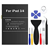 KUBOM Replacement Battery for iPad 3 or iPad 4, Full 11500mAh 0 Cycle Battery - Include Complete Repair Tool Kits [ 18-Month Warranty]