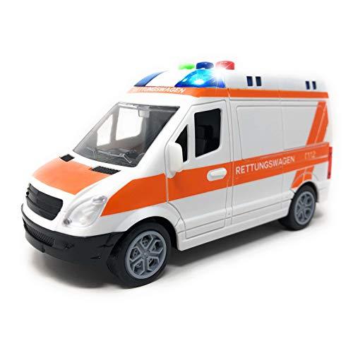 Toi-Toys Krankenwagen Spielzeug mit Licht und Sound - Deutscher Rettungswagen mit Sirene und Blaulicht | RTW mit Friktionsantrieb und DREI Geräuschen | Spielzeugauto für Kinder