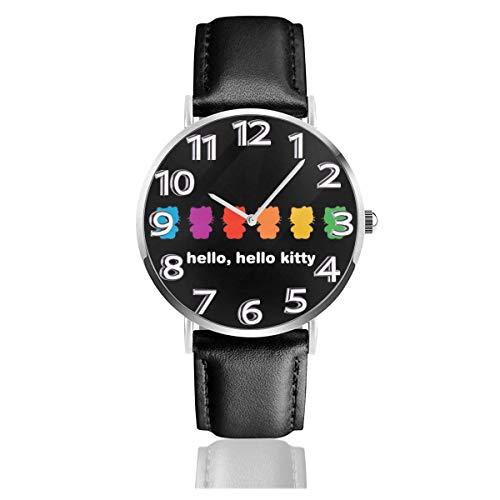 Hello Reloj Unisex Easy Reader analógico de Cuarzo de 38 mm con Correa de Cuero