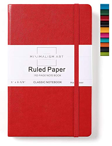 Minimalism Art, Classic Notebook Journal, A5 Size 5 X 8.3 inches, Red, Ruled Lined Page, 192 Pages, Hard Cover, Fine PU Leather, Inner Pocket, Quality Paper-100gsm, Designed in San Francisco