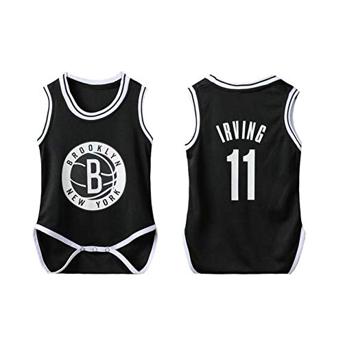 PAOFU-NBA Baby Van Brooklyn's Nets Jordan # 11 Body Fans Mouwen Basketball Jerseys Jumpsuit Playsuit Romper Voor Baby Boy Girl,Black,6~12 months
