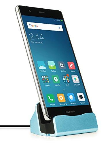 MyGadget USB C Docking Station - Base Estación de Carga para Samsung Galaxy S10 S9 (Edge) Plus, Huawei Mate 20 / P20 / P30 (Pro) / Xiaomi Mi 9 - Azul