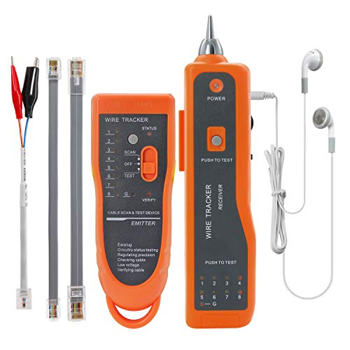 BOOGIIO Wire Tester RJ45 RJ11 Cable Tracker Line Finder Multifunction Wire Tracker Ethernet LAN Network Cat5 Cat6 with Earphone for Cable Collation, Network Maintenance Collation, Telephone Line Test