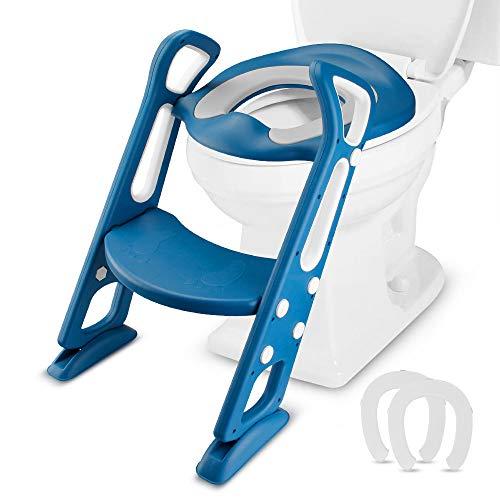 Mture Riduttori WC per bambini con Scaletta Pieghevole, Addestramento della toletta dei bambini con i corrimani antiscivolo resistente, per Bambini da 1 a 7 Anni, BLU (2020 ultimo stile)