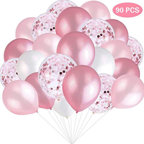 SZHUIHER Rosa und weiße Luftballons, Rosa Konfetti-Luftballons Weiße Luftballons Insgesamt 90 Stück Latex-Luftballons für Junggesellinnenabschiede, Hochzeiten, Babypartys und Geburtstagsfeiern