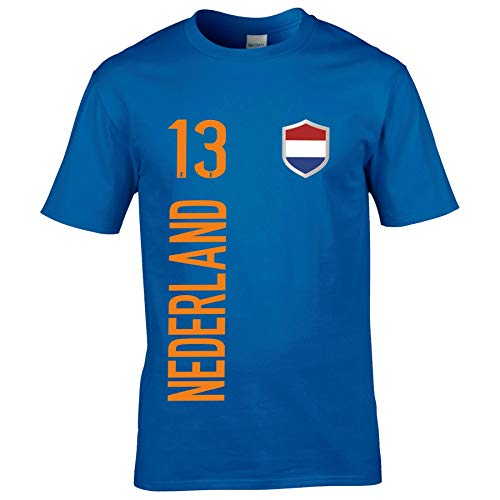 FanShirts4u Herren Fanshirt Jersey Trikot NIEDERLANDE Holland Nederland T-Shirt inkl. Druck Wunschname u. Wunschnummer EM WM (5XL, Nederland/blau)
