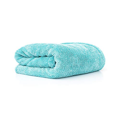 The Rag Company - The Liquid8r Super Absorbent Microfiber Drying Towel for Cars, Trucks, and SUVs; Safe for Detailing and Scratch Free; Twist Loop Weave; 25in. x 36in. 1100gsm 70/30 Blend (Aqua Blue)