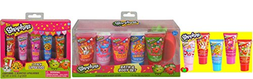 Shopkins 5pk Scented Lip Glosses and Shopkins Bath and Body Set Bundle