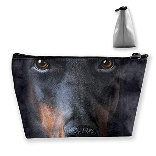 Trapezoid Makeup Pouch Storage Holder Doberman Face Womens Travel Case Cosmetic Makeup Pouch